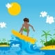 Surfer Cartoon Character Riding Wave - GraphicRiver Item for Sale