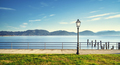 Massaciuccoli lake, terrace, street lamp and pier remains. Torre del Lago Puccini Versilia Italy - PhotoDune Item for Sale