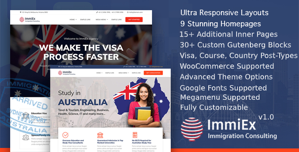 ImmiEx – Immigration and Visa Consulting WordPress Theme Preview