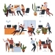 Workers Having Fun in Office at Breaks Set - GraphicRiver Item for Sale