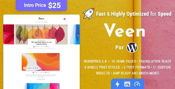 Veen – Minimal & Lightweight Blog for WordPress Preview