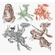 Witch Flies with a Broom, Dog, Goat and a Boar - GraphicRiver Item for Sale