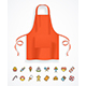 Realistic Detailed Red Apron and Thin Line Icons - GraphicRiver Item for Sale
