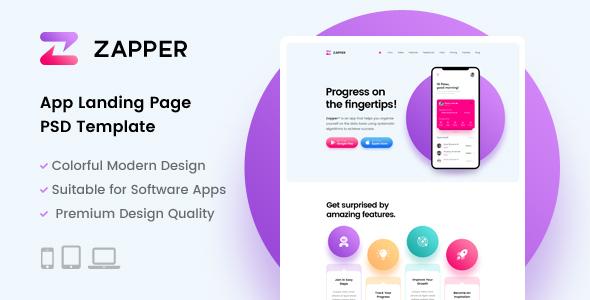 Zapper – App Landing Page PSD Template