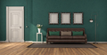 Green classic living room with leather sofa - PhotoDune Item for Sale