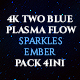 4K Two Blue Plasma Flow Sparkles And Ember Pack 4in1 Loop Backgrounds - VideoHive Item for Sale