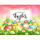 Pink Nature Background with Colorful Easter Eggs and Card - GraphicRiver Item for Sale