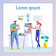 Woman Having Painting Hobby and Father with Son - GraphicRiver Item for Sale