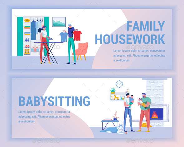 Family Housework and Father Babysitting Banner