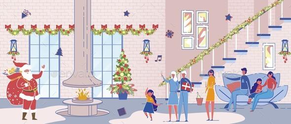 Santa Claus Character Visiting Family Xmas Party