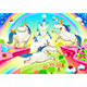 Group of Unicorns with Castle and Fantasy Landscape - GraphicRiver Item for Sale