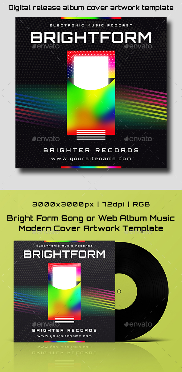 Bright Form Song or Album Music Modern Cover Artwork Template