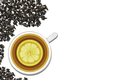 A cup of tea with lemon on a white background. View from above - PhotoDune Item for Sale