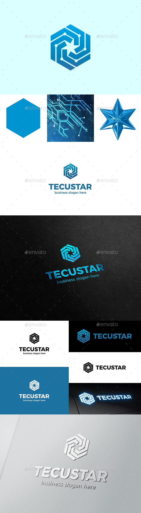 Tech Hexagon and Star Form Inside