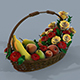 Basket with flowers and fruits 3d model - 3DOcean Item for Sale