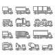 Commercial Van and Truck Icons Set on White - GraphicRiver Item for Sale