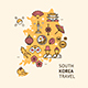 Korea Travel Banner Card with Map. Vector - GraphicRiver Item for Sale