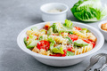 Fusilli pasta salad with avocado, tomatoes, fresh green lettuce, parmesan cheese and croutons - PhotoDune Item for Sale