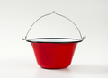 Red and white enamel cauldron / cooking pot with black rim and wire bail handle - PhotoDune Item for Sale