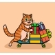Cat Delivers Gifts and Purchases on a Skateboard - GraphicRiver Item for Sale