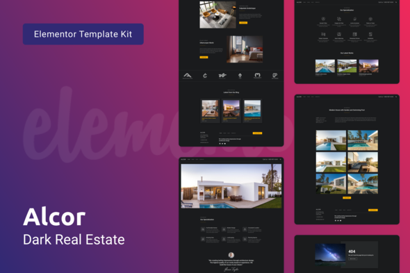 Alcor — Dark Real Estate Elementor Template Kit