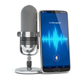 Voice Recognition concept. Microphone and smartphone or mobile phone with waves on the screen. - PhotoDune Item for Sale