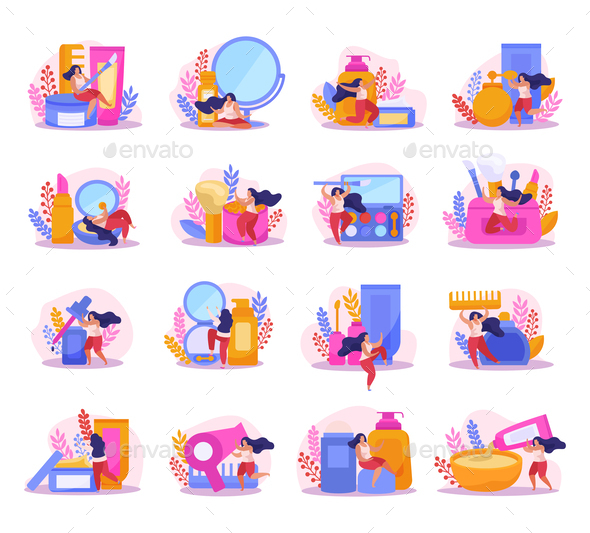 Beauty Salon Flat Icon Set