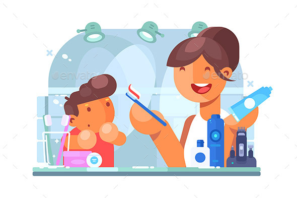 Child Brushing Teeth with Mother