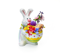 Easter bunny with flower arrangement on a white background - PhotoDune Item for Sale