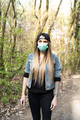 Young Casual Woman Wearing Face Mask Walking in Forest. Leisure Activity in Coronavirus Pandemia - PhotoDune Item for Sale