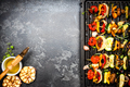 Barbecue Grilled Vegetables Skewers. Food Background with Copy Space - PhotoDune Item for Sale