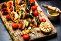 Serving Grilled BBQ Vegetables Skewers with Fresh Herbs, Marinate and Spices on Wooden Board - PhotoDune Item for Sale