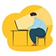 Big Man Working at the Computer - GraphicRiver Item for Sale