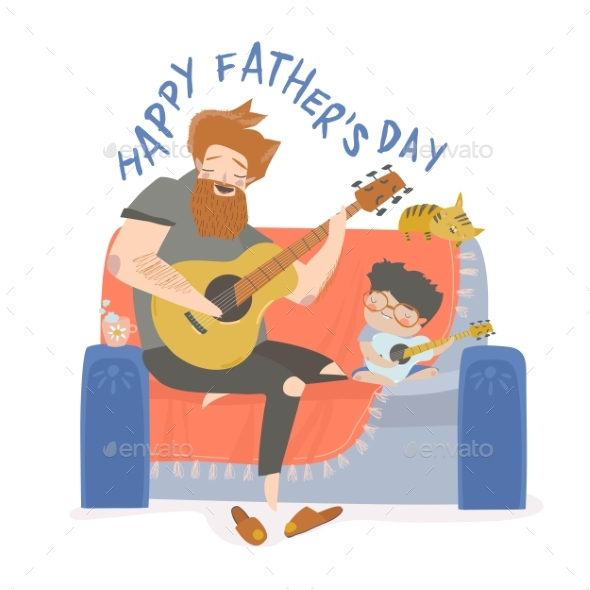 Vector Illustration of Father Playing Guitar