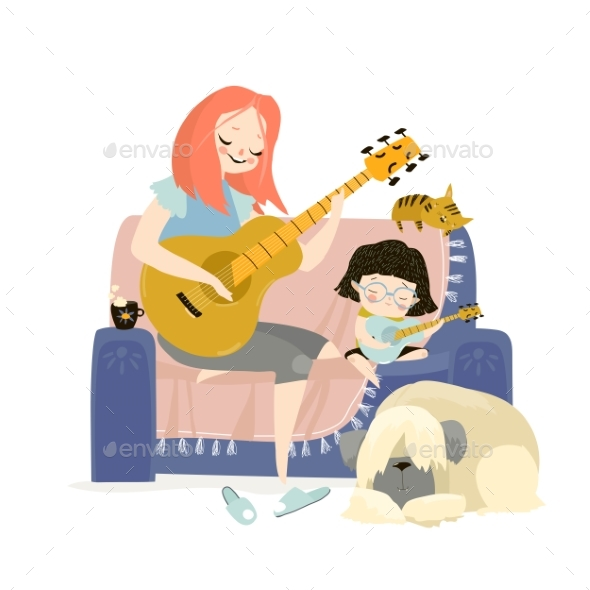 Vector Illustration of Mother Playing Guitar