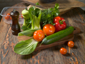 Fresh vegetables and fresh herbs lie on a wooden table - PhotoDune Item for Sale