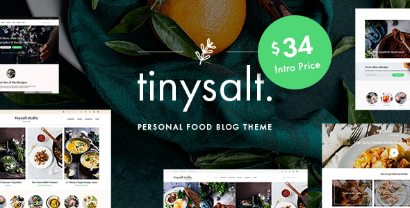 TinySalt – Personal Food Blog WordPress Theme Preview