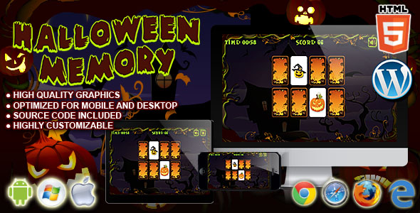 Halloween Memory - HTML5 Puzzle Game Download