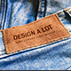 Engraved Brown Leather Label on Blue Jeans - GraphicRiver Item for Sale
