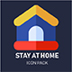 Stay at home Icons - Flat Style - GraphicRiver Item for Sale