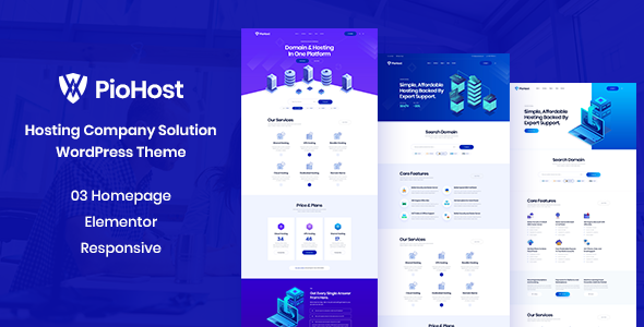Piohost – Domain and Web Hosting WordPress Theme Preview