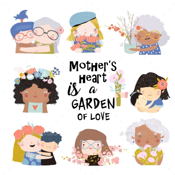 Set of Illustrations for Mothers Day