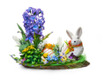 Easter installation from a flower arrangement and a rabbit on a white background - PhotoDune Item for Sale