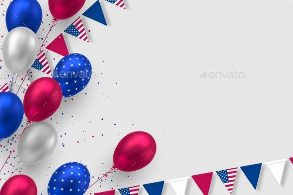 Glossy Balloons in Colors of American Flag