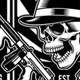Gangster Skull With Machine Guns - GraphicRiver Item for Sale