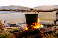 cooking food in pot an open fire - PhotoDune Item for Sale