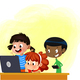 Kids on Laptop Computer - GraphicRiver Item for Sale