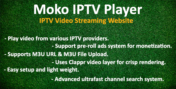 Moko IPTV Player - IPTV Video Streaming Website