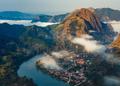 Aerial view of Nong Khiaw village at sunrise, Laotian, Luang Prabang, Laos - PhotoDune Item for Sale