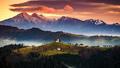 The church of St. Thomas at sunrise , Skofja Loka, Slovenia - PhotoDune Item for Sale